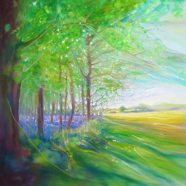 a springtime landscape painting of a bluebell wood next to a yellow rapeseed field