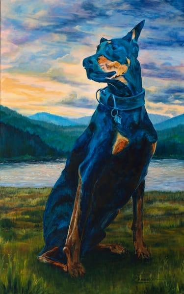 Dog, pet, doberman, painting, commission, west coast, art.