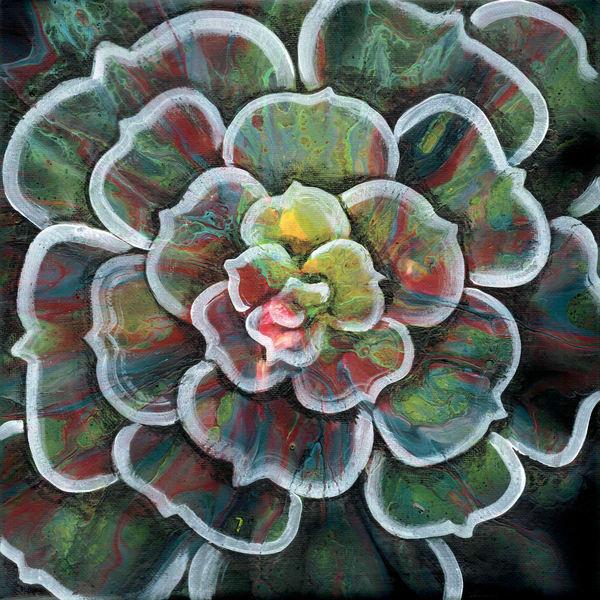 Succulent No. 1 Art Prints Embellished Fluid Artwork