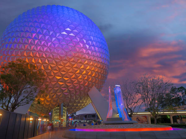 Spaceship Earth Pylons in the Evening - Disney Prints   William Drew Photography