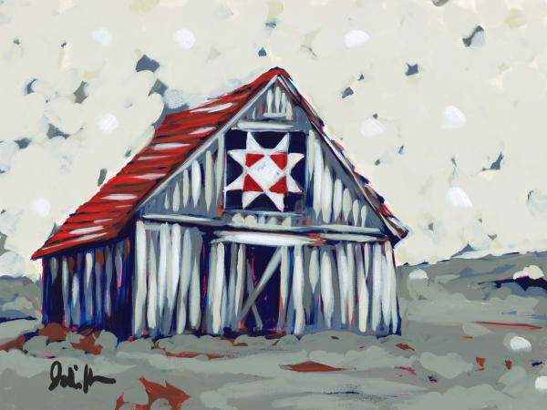 Fine art print by Jodi Augustine Art of an old barn with an old glory quilt square.