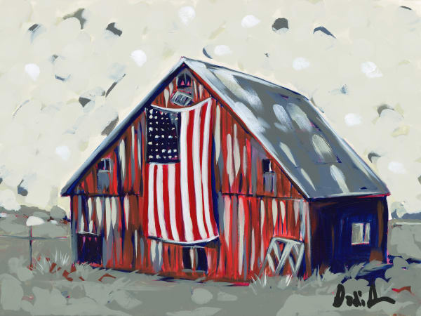 A fine art print of an American icon, a red barn with a flag hanging on the front.