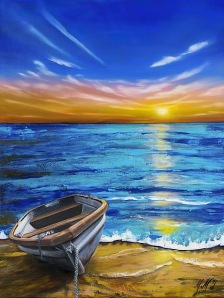 Lake Sunset  | Original Mixed Media Painting Art | MMG Art Studio | Fine Art Colorado Gallery