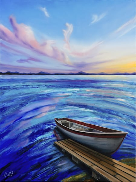 Lake Sunset 2 | Original Mixed Media Painting Art | MMG Art Studio | Fine Art Colorado Gallery