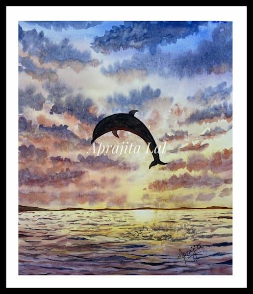 """Taking the Leap"" in Watercolors by Aprajita Lal (Original 10.5x8)"