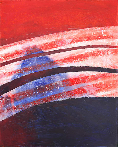 Red Stripes and Blue - Original Abstract Painting | Cynthia Coldren Fine Art