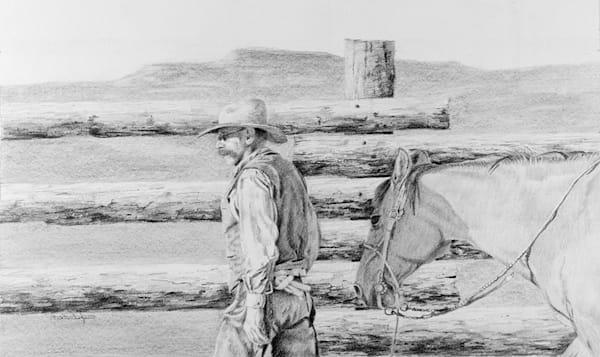 "Raymond Wattenhofer Fine Art Graphite Drawing ""Sundown"""