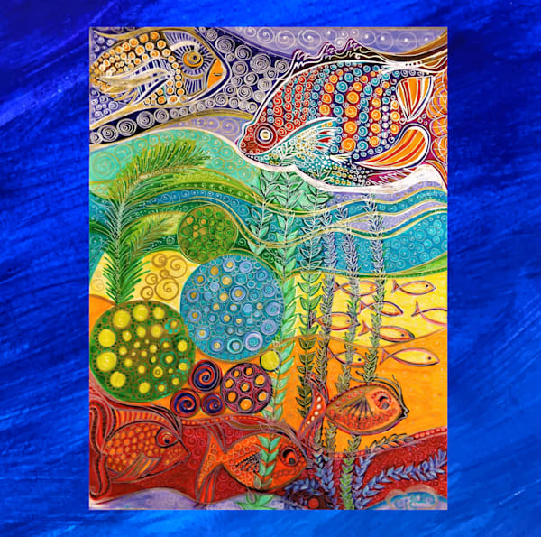 Rainbow Waters/ Blue Border Art | Cynthia Christensen Art