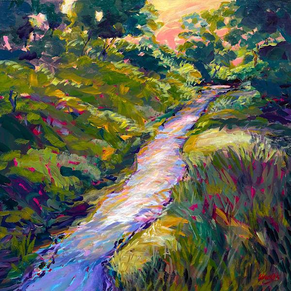 Spring Rains Fill The Dry Creek At Dusk Art | Charles Wallis
