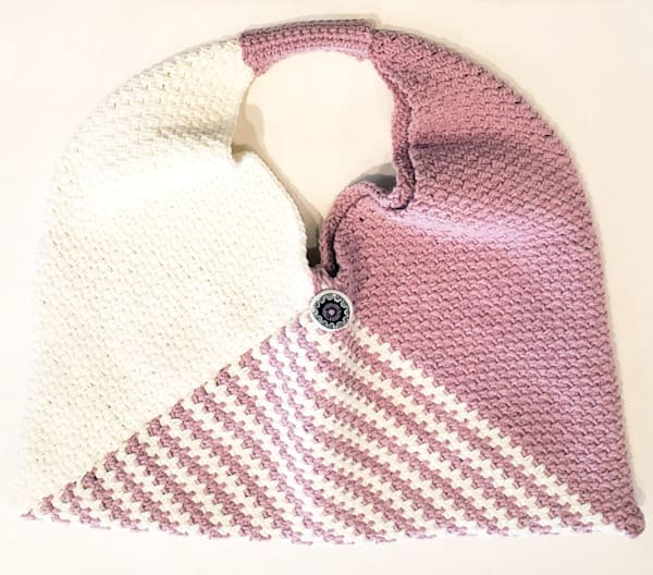Handmade Crochet Triangle Tote Bag Lined with Button/Loop Closure