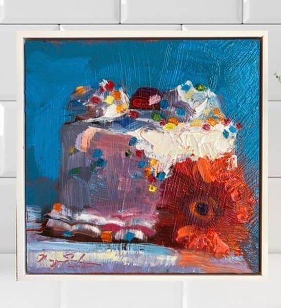 "Still life floral ""Sweet 7""  by Monique Sarkessian still Llife with vanilla cake oil painting."