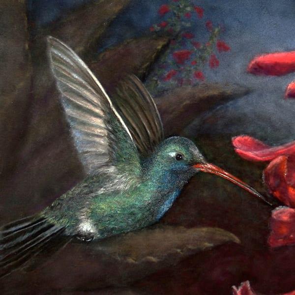 Hummingbird painting Jewel of the Morning Sky by Nancy Conant