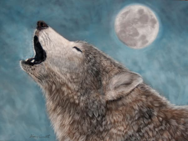 Wolf painting, Moon Song by Nancy Conant