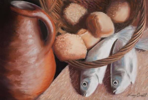 Painting of the Loaves and Fish by Nancy Conant was inspired by the miracle of the feeding of 5,000.
