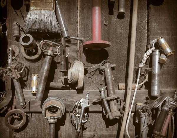 Tools hang ready on a barn in Winters, Yolo County, California.