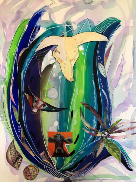 De Veuve Alexis  Southwest Lotus  22 X 30  Acrylic And Collage Art | MardisArt
