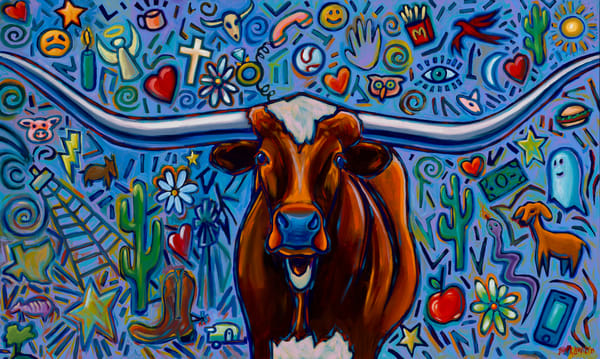 Longhorn paintings by Texas artist, John R. Lowery for sale as art prints.