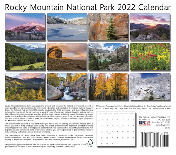 The 2022 Rocky Mountain national Park scenic calendar by Colorado photographer James Frank.