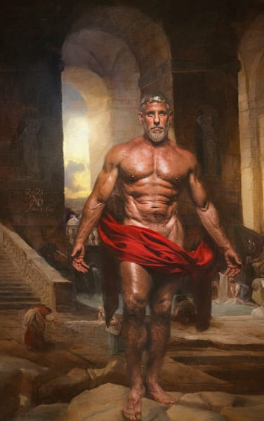 Zeus and the Baths of Mount Olympus, Limited Edition, Artist Ben Fink, painting, photo illustration, photography, Art,