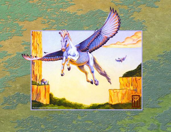 Mesa Pegasus With Green Background Art | Melissa A Benson Illustration