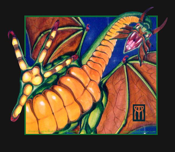 Shivan Dragon Black Background Art | Melissa A Benson Illustration