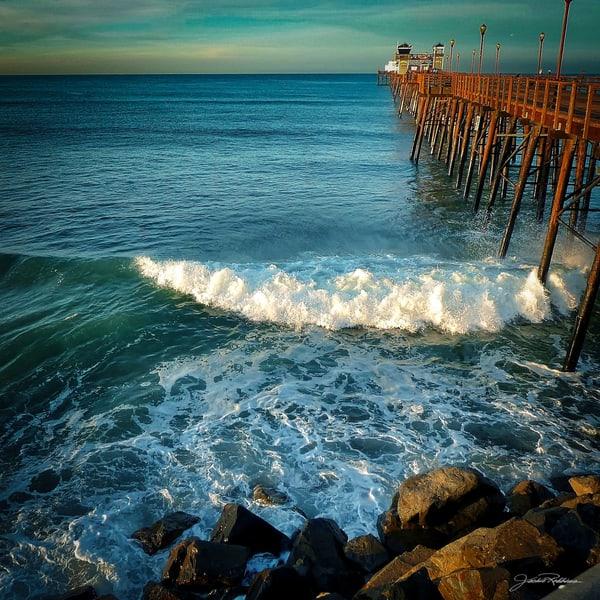 morning #blue, green, aqua, ocean, pier, jackierobbinsstudio, photographicprints, buyartonline