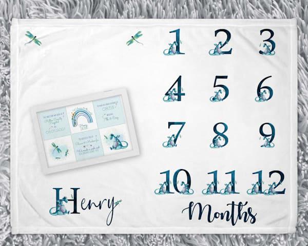 Baby Boy Dragon Keepsake Box & Milestone Blanket Set