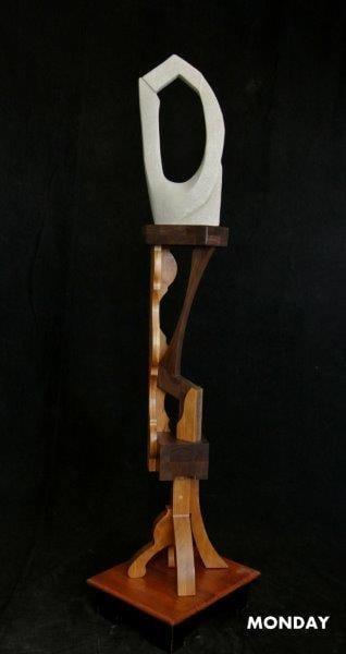 Limestone Wood Free Standing Sculpture Days of Week Series Monday