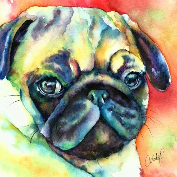 Fawn Pug watercolor pet portrait painting