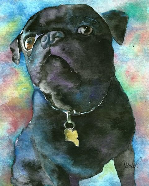 Black Pug Watercolor Pet Portrait Painting