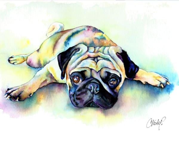 Colorful pug watercolor pet portrait painting.