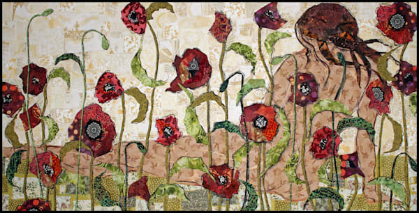 Hidden in the Flowers is a textile mosaic by Sharon Tesser