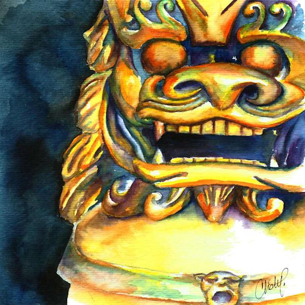 Foo Dog Fine Art Watercolor Painting