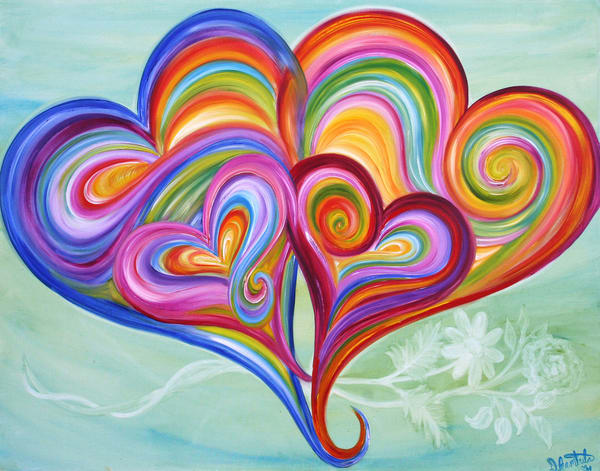 4 Heart Family Love With Flowers 1 Art | Heartworks Studio Inc
