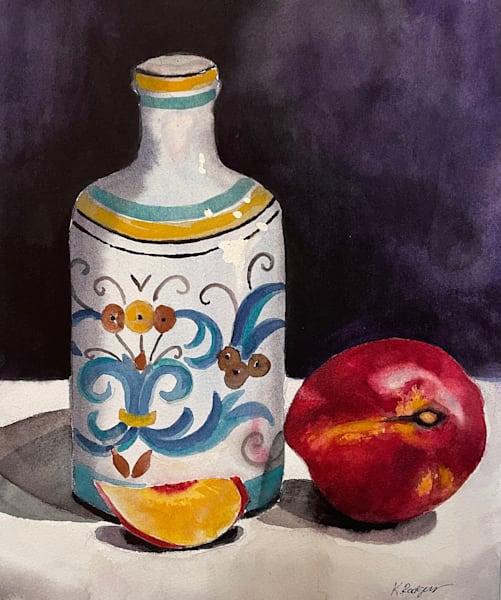 Bottle With Fruit Art   Katherine Rodgers Fine Art