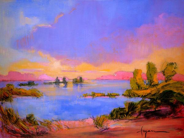 Blue Marsh Painting, Canvas Print by Dorothy Fagan