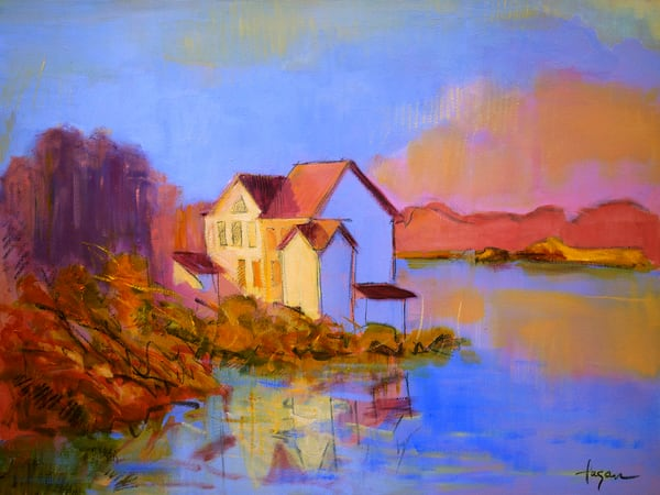 Cottage on the Water Painting, Limited Edition Print by Dorothy Fagan