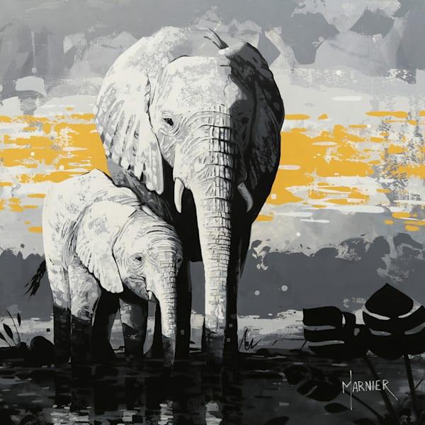Elephant art, Elephant painting, art, original painting, Marnier artist
