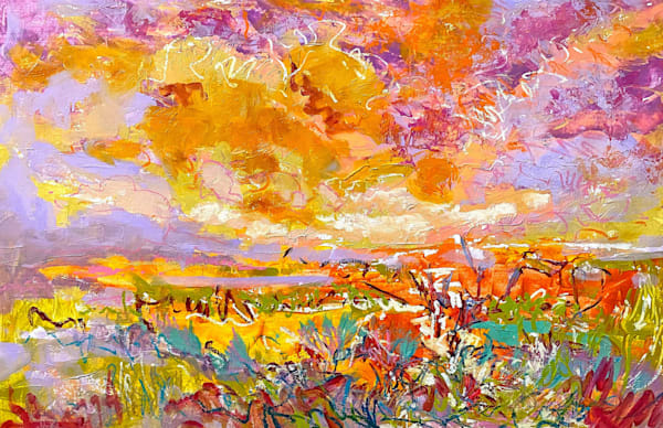 Golden Wildflower Field Abstract Painting