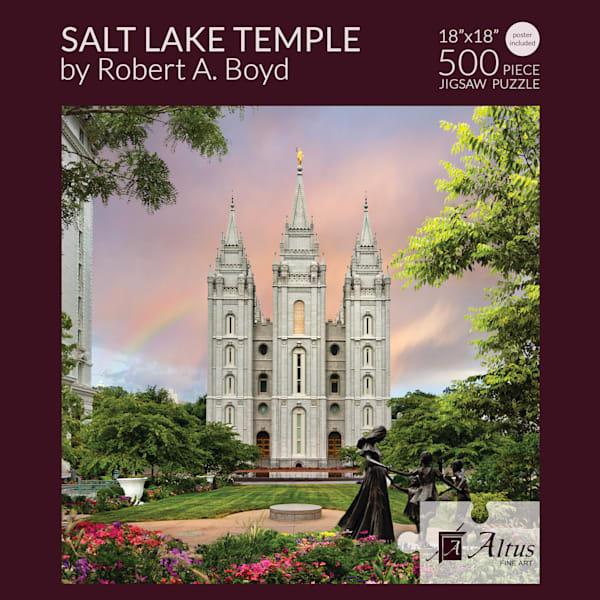 Salt Lake Temple Rainbow 18x18 Puzzle 500 Pieces By Robert A. Boyd   Cornerstone Art