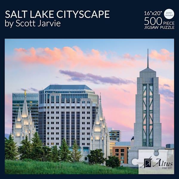 Salt Lake Cityscape 16x20 Puzzle 500 Pieces By Scott Jarvie   Cornerstone Art