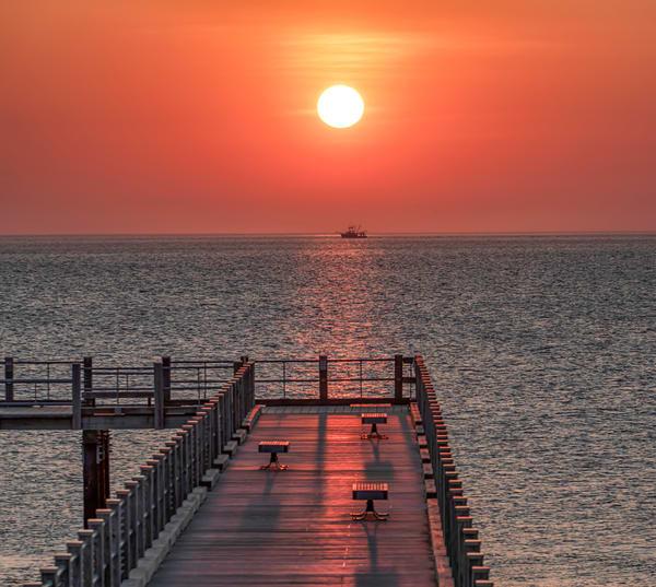 Oak Bluffs Fishing Pier Trawler Sunrise Art   Michael Blanchard Inspirational Photography - Crossroads Gallery