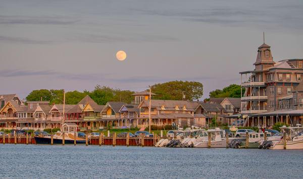 Oak Bluffs Waterfront Moonrise Art | Michael Blanchard Inspirational Photography - Crossroads Gallery