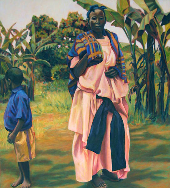 African Mother In Pink And Blue Art | Lidfors Art Studio