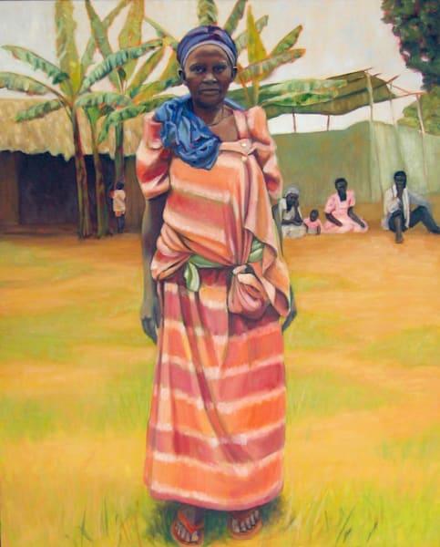African Woman And Villagers  Art | Lidfors Art Studio