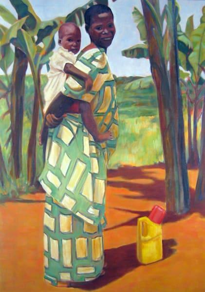 African Mother With Daughter On Her Back Art | Lidfors Art Studio