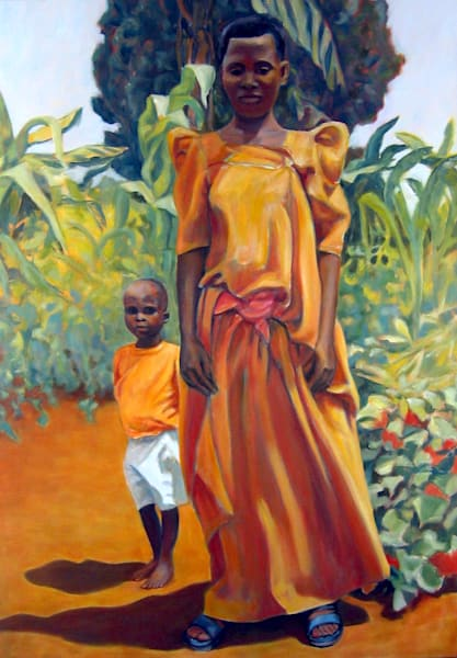 African Mother With Her Child By Her Side Art | Lidfors Art Studio