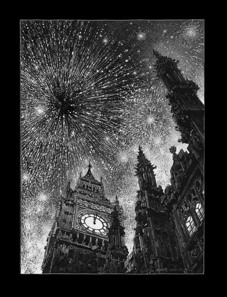 Big Ben, New Years Eve 2021 Art | Andre Junget Illustration LLC