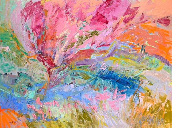 Pink Abstract Floral Landscape Original Painting