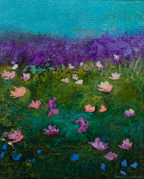Bright Blue Abstract Floral Landscape Painting